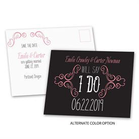 Charming Scrollwork - Save the Date Postcard