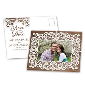 Lace Frame - Save the Date Postcard