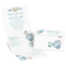 Watercolor Seashells - Seal and Send Invitation