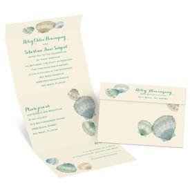Watercolor Seashells - Ecru - Seal and Send Invitation