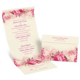 Blushing Blooms - Ecru - Seal and Send Invitation