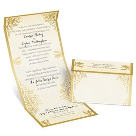 Elegant Wedding Invitations: Ferns Of Gold Seal And Send Invitation