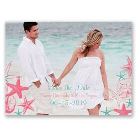 Destination Save The Dates: Seashell Border  Save the Date Card