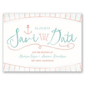 Watercolor Nautical  Save the Date Card