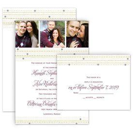 Modern Wedding Invitations: Gold Beads Invitation with Free Respond Postcard