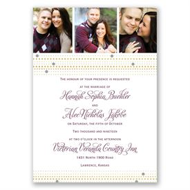 Gold Beads Invitation with Free Respond Postcard