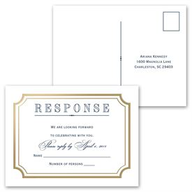 Gold Frame - Invitation with Free Respond Postcard