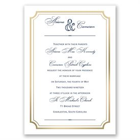 Gold Frame Invitation with Free Respond Postcard
