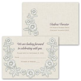 Vintage Trim - Invitation with Free Respond Postcard