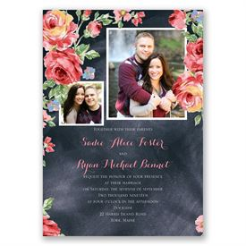 Chalkboard Roses - Invitation with Free Respond Postcard