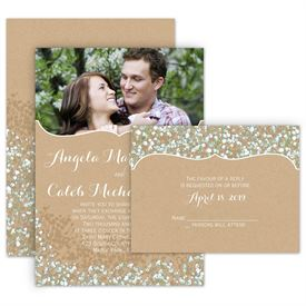 all in one wedding invitations babys breath all in one invitation - Picture Wedding Invitations
