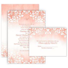 Pink Wedding Invitations: Garden Dreams All In One Invitation