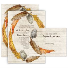 fall wedding invitations woodland feathers all in one invitation - Fall Themed Wedding Invitations