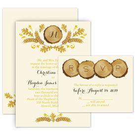 Fall Wedding Invitations: Rustic Details Ecru Invitation with Free Respond Postcard