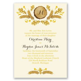 Rustic Details - Ecru - All in One Invitation