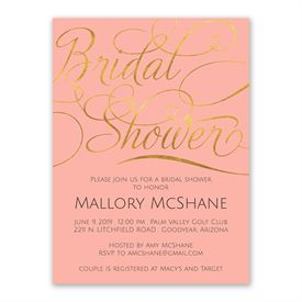 Cheap Bridal Shower Invitations: Gold Beauty Bridal Shower Invitation