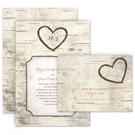 Country Wedding Invitations Birch Tree Carving Invitation With Free Response Postcard