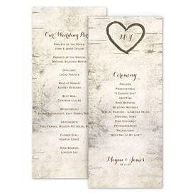 Wedding Programs: Birch Tree Carving Wedding Program