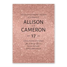 Glitter Illusion - Rose Gold - Invitation with Free Response Postcard