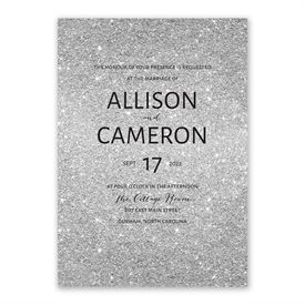 Glitter Illusion - Silver - Invitation with Free Response Postcard