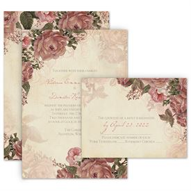 Vintage wedding invitations anns bridal bargains vintage wedding invitations vintage roses invitation with free response postcard stopboris Images