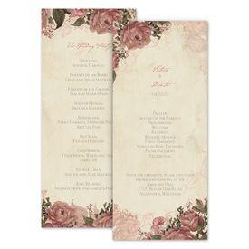 Wedding Programs: Vintage Roses Wedding Program