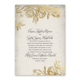 Rustic Glam - Invitation with Free Response Postcard