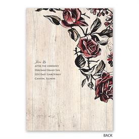 Rose Vines - Invitation with Free Response Postcard