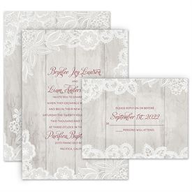 Lace wedding invitations anns bridal bargains lace wedding invitations weathered lace invitation with free response postcard filmwisefo
