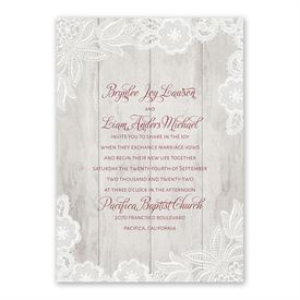 Weathered Lace Invitation with Free Response Postcard