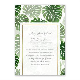 Pretty Palms Invitation with Free Response Postcard