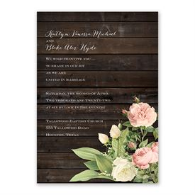 Rustic Floral Invitation with Free Response Postcard