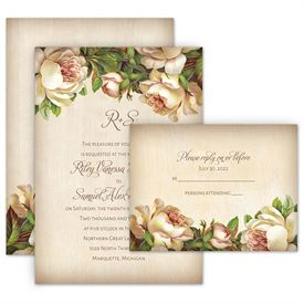 vintage wedding invitations antique rose invitation with free response postcard