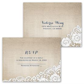Burlap and Lace Frame - Invitation with Free Response Postcard