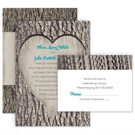 Country Wedding Invitations Carved Heart Invitation With Free Response Postcard