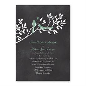 Chalkboard Lovebirds - Invitation with Free Response Postcard