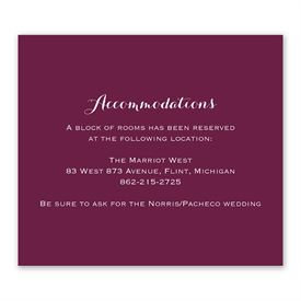 Wedding Reception Cards: Sweet and Simple Information Card