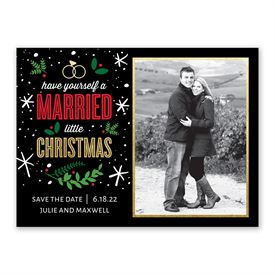 Married Little Christmas Holiday Card Save the Date