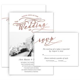 Elegant Wedding Invitations: Love Glow Invitation with Free Response Postcard