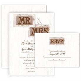Rustic Wedding Invitations: Country Couple Invitation with Free Response Postcard