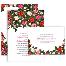 Red Wedding Invitations: Boho Floral Invitation with Free Response Postcard