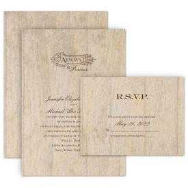 Wedding Invites Free Respond Cards: Woodgrain Beauty Choose Your Design Invitation with Free Response
