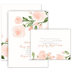 Floral Wedding Invitations: Within Reach Invitation with Free Response Postcard
