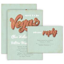 Wedding Invitations: Vegas Wedding Invitation with Free Response Postcard