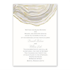 Natural Agate Invitation with Free Response Postcard