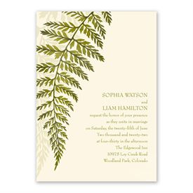 Woodland Fern Invitation with Free Response Postcard