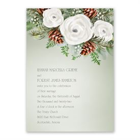 Winter Floral Invitation with Free Response Postcard