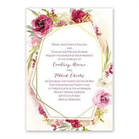 Geo Rose Invitation with Free Response Postcard