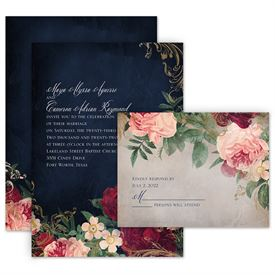 Wedding Invitation Packages.Florals And Flourishes Invitation With Free Response Postcard