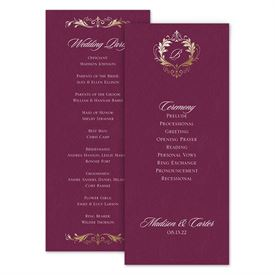 Wedding Programs: Royal Monogram Wedding Program